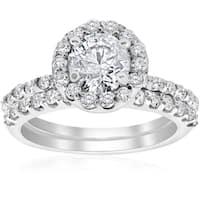 14k White Gold 1 7/8ct TDW Diamond Clarity Enhanced Halo Engagement Ring Matching Wedding Band Set (I-J,I2-I3)