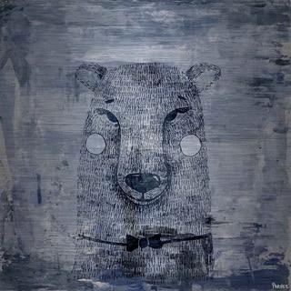 Blue Smile' Painting Print on Brushed Aluminum