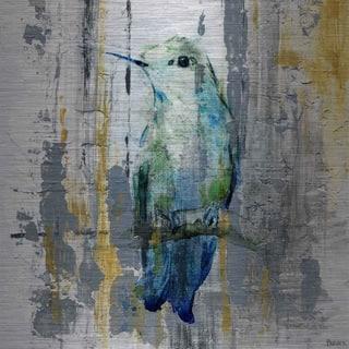Handmade Blue Songbird Print on Brushed Aluminum