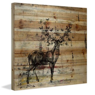Handmade Butterfly Antlers Print on Natural Pine Wood