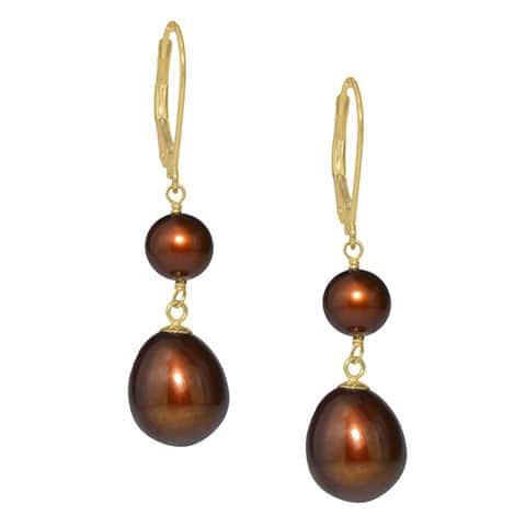 14k Yellow Gold Dual Chocolate Freshwater Pearl Dangling Earrings