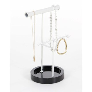 Pallid Metal Wood Jewelry Stand, Metallic