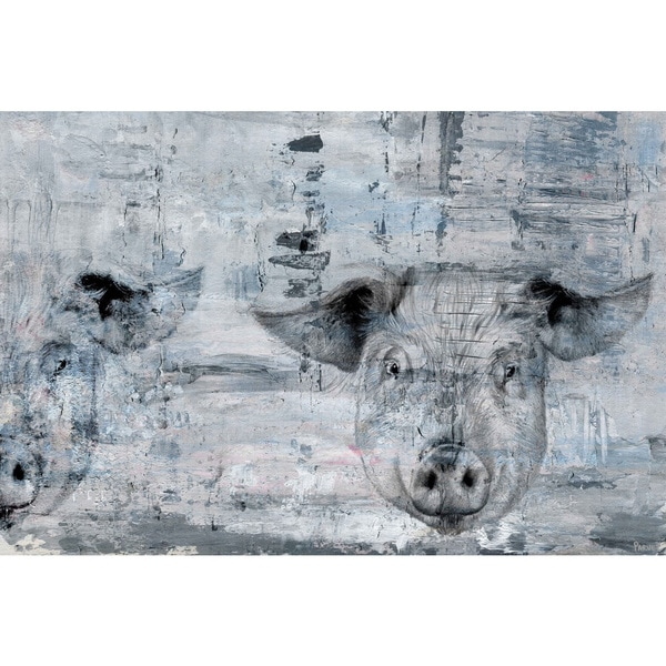 Blue Pigs' Painting Print on Wrapped Canvas