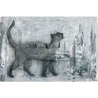 Cat Prance' Painting Print on Wrapped Canvas - Black