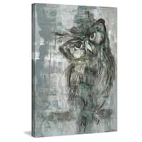 Owl Glasses' Painting Print on Wrapped Canvas - Blue