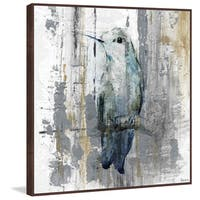 Perching Grey' Floater Framed Painting Print on Canvas - Silver