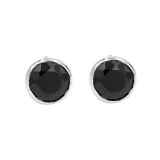 Sterling Silver Black Onyx Brilliant Cut Small Stud Earring