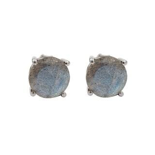 Sterling Silver Round Labradorite Stud Earrings