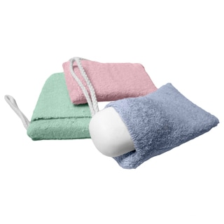 Evelots Terry Cloth Soap Pouch Sponges (Set of 3)