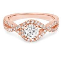 LeZari & Co. 1.05ct TDW Round Twist Halo, U Pave & Prong set, infinity Split Shank Diamond Engagement Ring, 14K Gold(H-I, I2-I3)