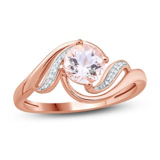 3/4 Carat White Diamonds And Natural Round Morganite Halo Fashion Ring In 10K Rose Gold.