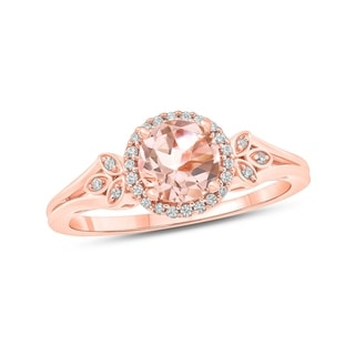10K Rose Gold Round Morganite Floral Fashion Ring with 1/10 Carat White Diamond Halo