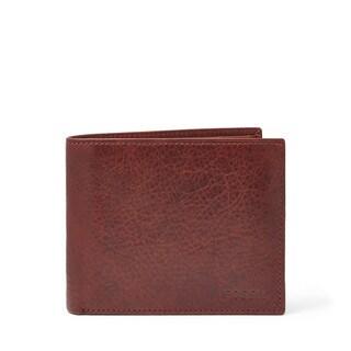 Fossil Men's Ingram Large Coin Pocket Bifold Wine Leather Wallet