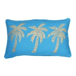 Thro Patty Palm Tree Faux Linen Golden Stud Design Throw Pillow