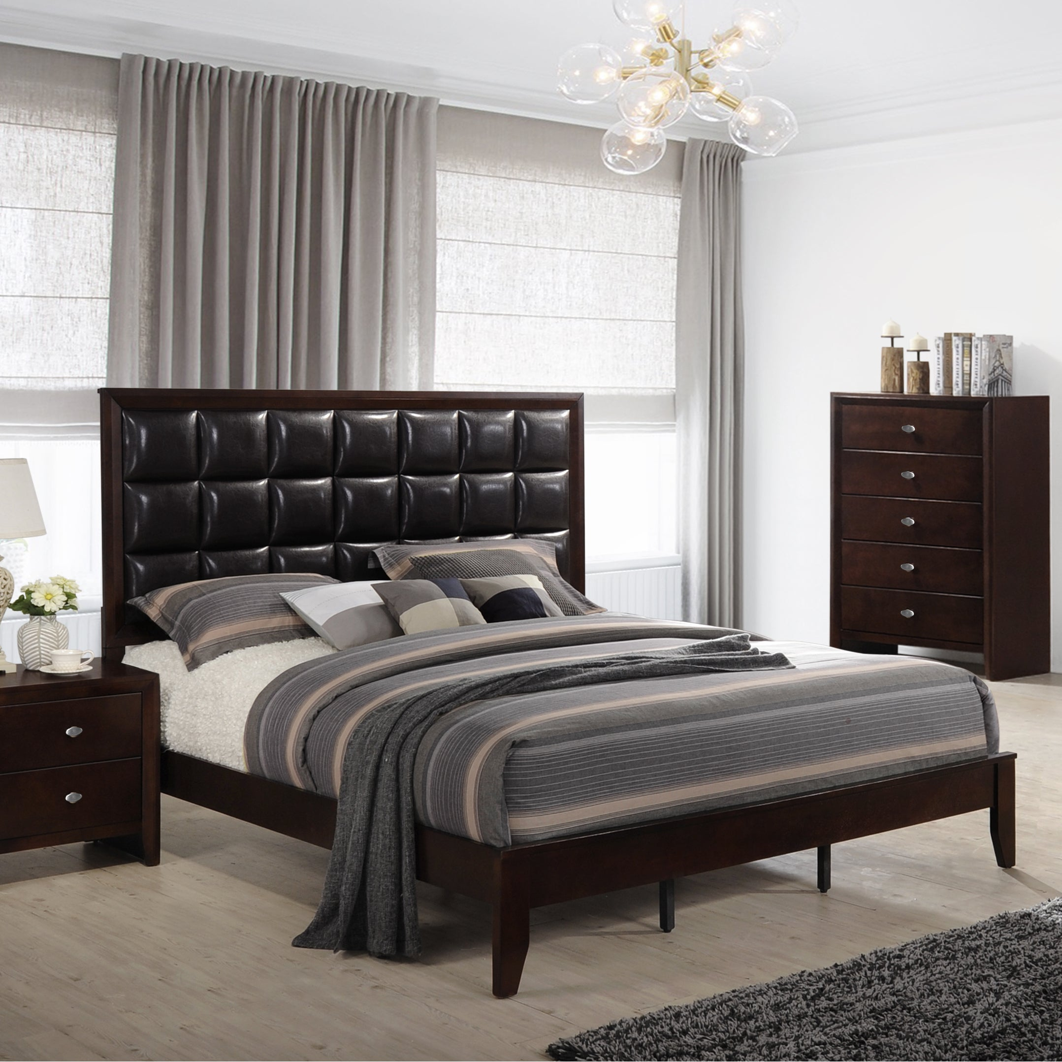 Gloria 351 Brown Cherry Finish Wood and Upholstered Bed (King - King - Faux Leather/Wood)