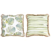 Thro Frances Watercolor Blue and Green Beaded Pillow