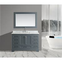 Design Element Omega Gray Wood/Marble/Porcelain Single Sink Vanity Set With Mirror