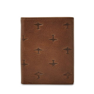 Fossil Men's Pilot International Combination Brown Leather Bifold Wallet