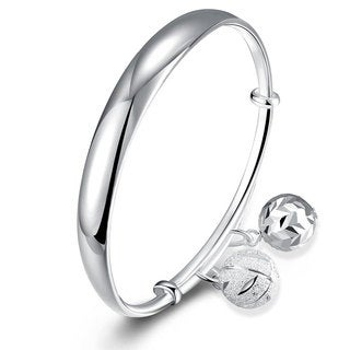 .925 Sterling Silver Dangling Charms Bangle