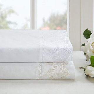 Madison Park Essentials Floral Eyelet Embroidered Sheet Set - 2 Color Options