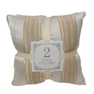 Home Accent Pillows Striped Yellow Satin Throw Pillows (Pack of 2)