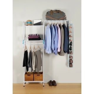 UCloset White Metal 3-shelf Garment Organizer and Fabric Shoe Rack