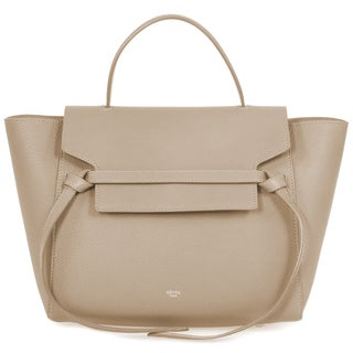 Celine Belt Taupe Grained Calfskin Leather Shoulder Handbag