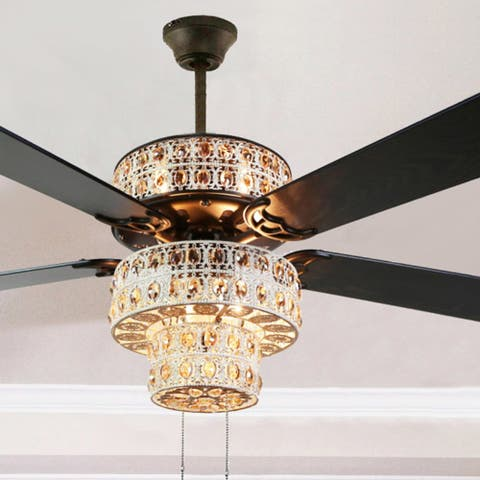 Copper Grove Angren Antique White and Champagne Crystal Ceiling Fan