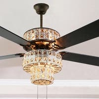 Antique White and Champagne Crystal Ceiling Fan