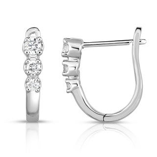 14K Gold 0.20Ct Diamond Hoop Earrings (G-H, I1-I2) - White G-H