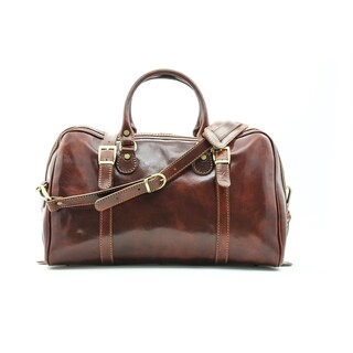 Alberto Bellucci Milano Italian Leather Carry-on Overnight Getaway Duffel Bag