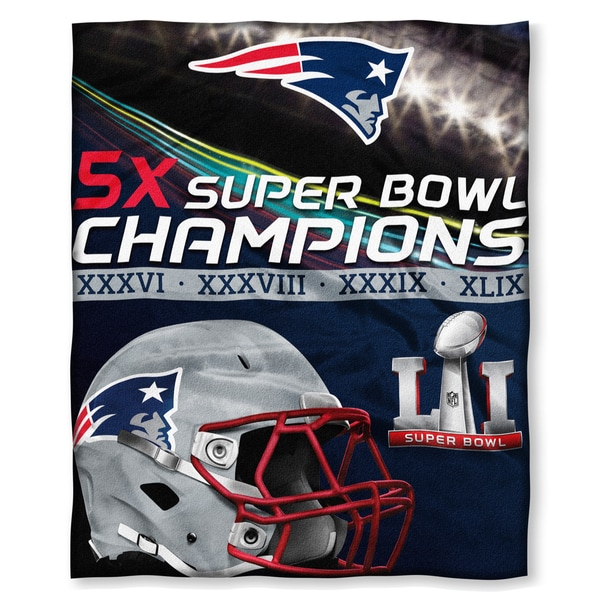 NFL 575 SB51 Patriots 5X Champs Silk Touch Throw