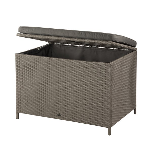 Shop Ferrara Grey Wicker 80 Gal Deck Box Free Shipping