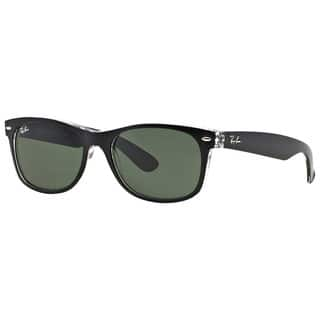 88e809bc885 Ray-Ban New Wayfarer Color Mix RB2132 Unisex Black Transparent Frame Green  Classic 58mm