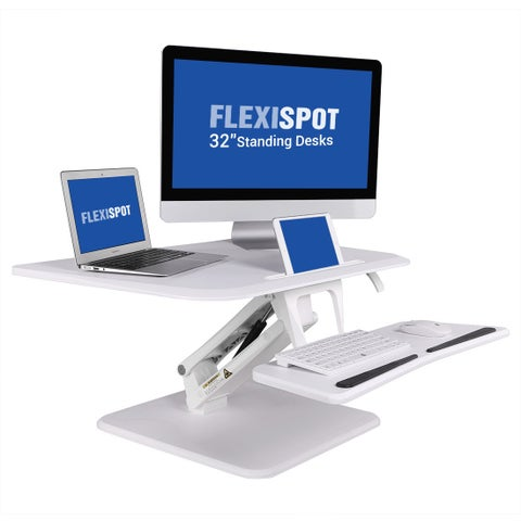 """FlexiSpot 16.7"""" H x 32"""" W Standing Desk Converter, Height adjustable Stand Up Desk Riser w/ Removable Keyboard Tray"""