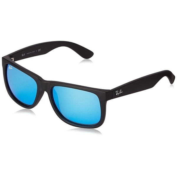783fa5ce8f9 Shop Ray-Ban Justin RB4165 622 55 Men s Black Frame Blue Mirror 55mm ...