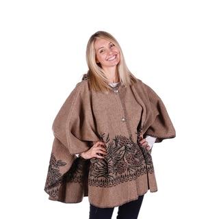 Mazmania Women's Looped Wool Pinecone Cape