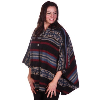 Mazmania Women's San Pablo Blue, Red and Black Looped Wool Cape