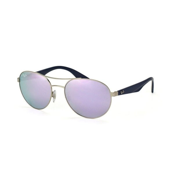 1b6c533ca7 Ray-Ban RB3536 Unisex Silver Blue Frame Lilac Mirror 55mm Lens Sunglasses