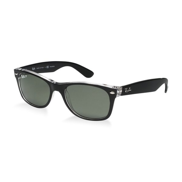 334cf503b6 Ray-Ban New Wayfarer Color Mix RB2132 Unisex Black Transparent Frame  Polarized Green 52mm