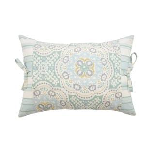 Waverly Astrid Pieced Decorative Blue/Yellow/White Cotton Throw Pillow