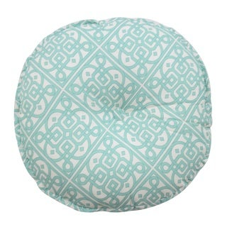 Waverly Modern Poetic Teal Cotton Round Button-tufted Decorative Throw Pillow