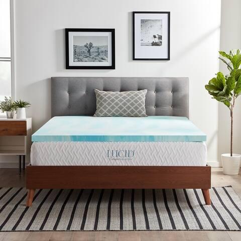 LUCID Comfort Collection Gel Swirl Memory Foam Topper - Blue