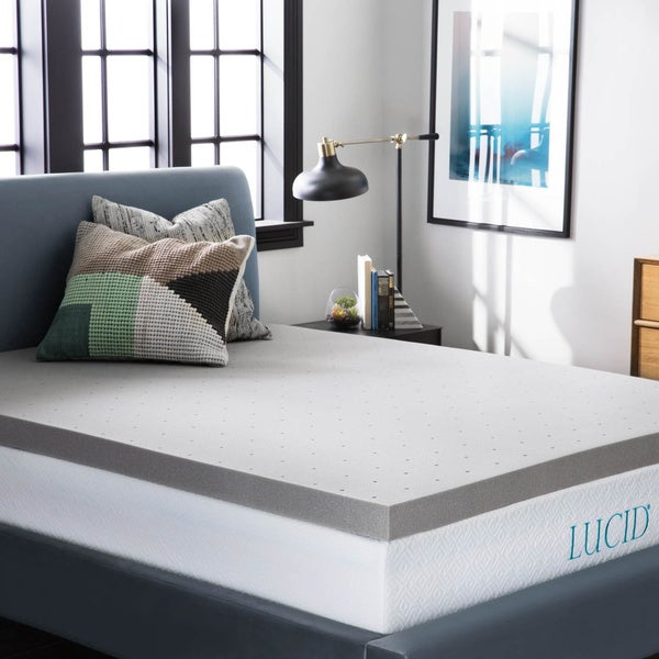 LUCID Comfort Collection 3-inch Bamboo Charcoal Memory Foam Mattress Topper