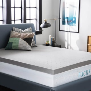 LUCID 3-inch Bamboo Charcoal Memory Foam Mattress Topper
