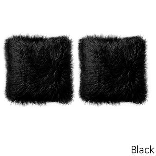 Mongolian Decorative Assorted Colors Faux Fur 18-inch Pillow Pair (4 options available)