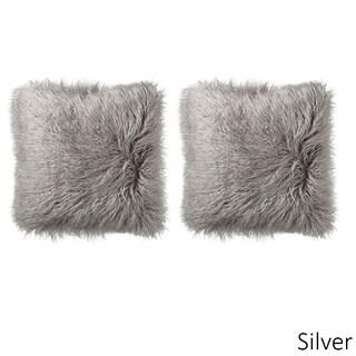 Mongolian Decorative Assorted Colors Faux Fur 18-inch Pillow Pair (Option: Silver)