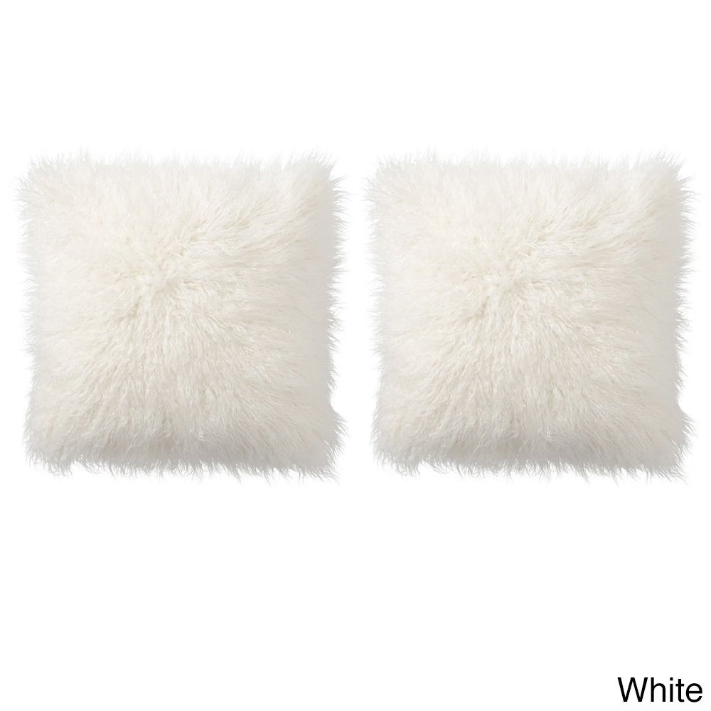 Lovely Mongolian Faux Fur 18 Inch Throw Pillow Pair