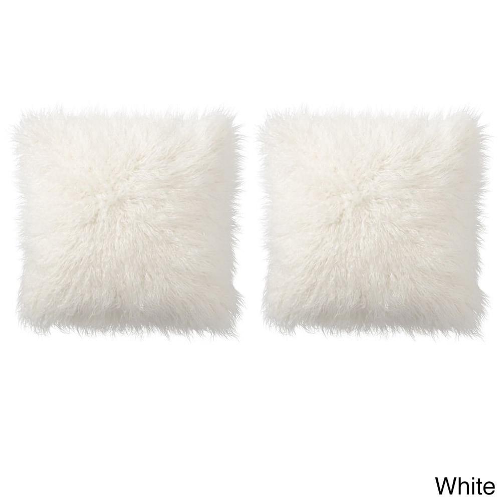 Mongolian Decorative Assorted Colors Faux Fur 18 Inch Pillow Pair (Option:  White)