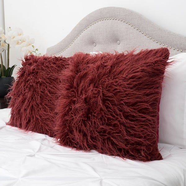 Mongolian Faux Fur 18-inch Throw Pillow Pair